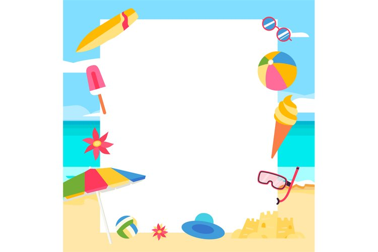 Beach background. Summer concept with cartoon elements example image 1