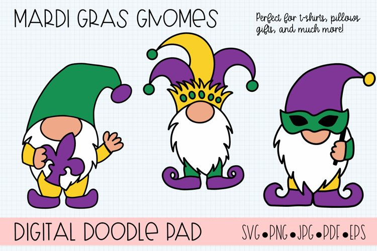 Mardi Gras Gnomes SVG Cut Files for Cricut and Silhouette example image 1