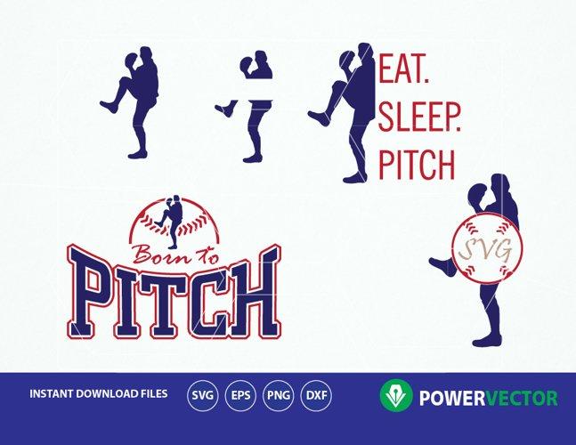 Svg Baseball Pitcher. Baseball Player Svg. Pitcher Vector Clip art - Svg, Dxf, Eps Cut Files  example image 1