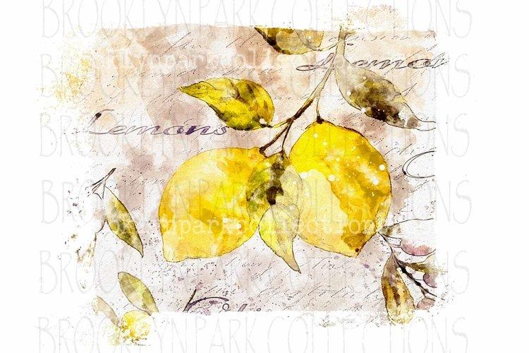Watercolor Lemons, Spring Art Design, Sublimation PNG example image 1