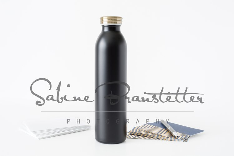 Styled Stock Photography Black Insulated Water Bottle Mockup example image 1