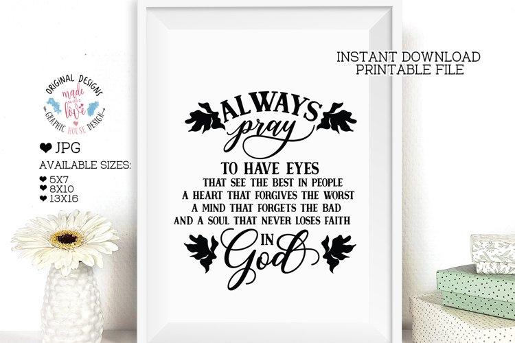 Always Pray in God - Faith Religious Printable
