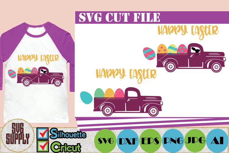 Easter Truck SVG Cut File Happy Easter SVG Cut File example image 1