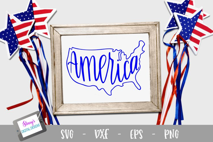 America SVG with US map - Patriotic SVG file - 4th of July