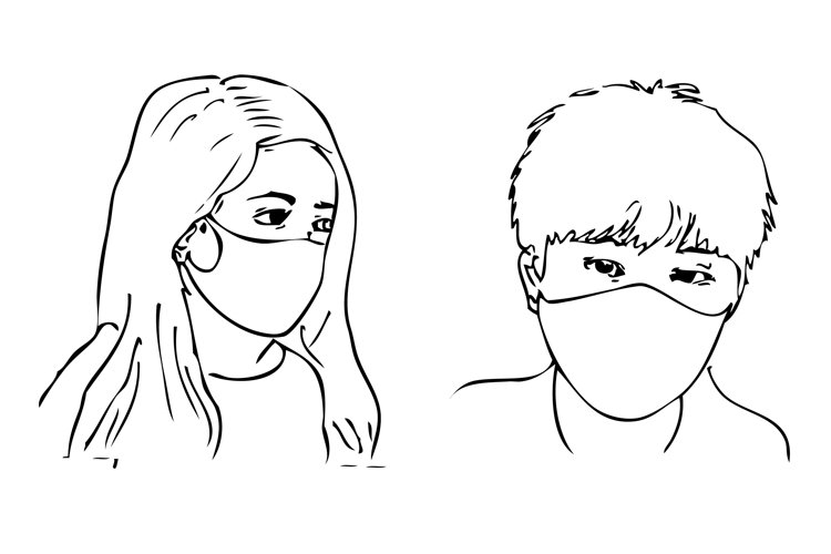 Man and Woman using Face mask example image 1