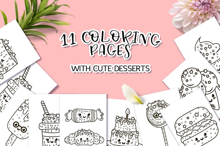 Coloring Pages with Cute Desserts example image 1