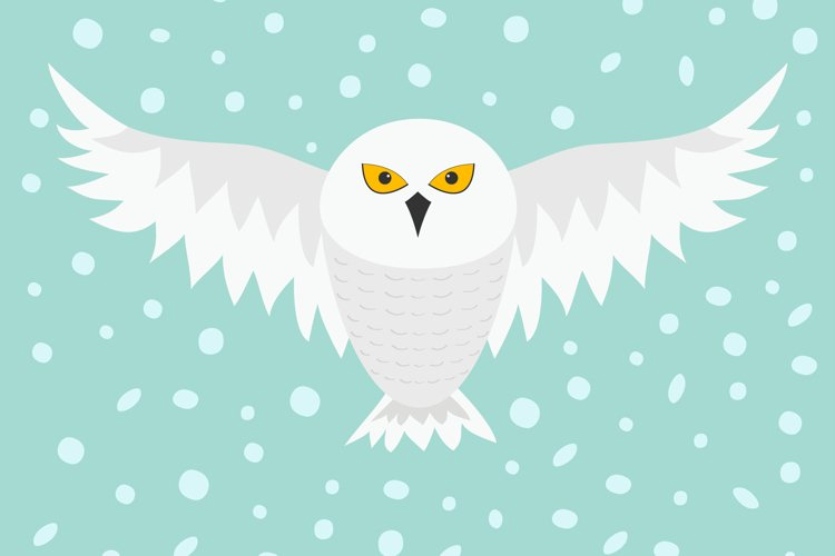 Snowy white owl. Flying bird example image 1