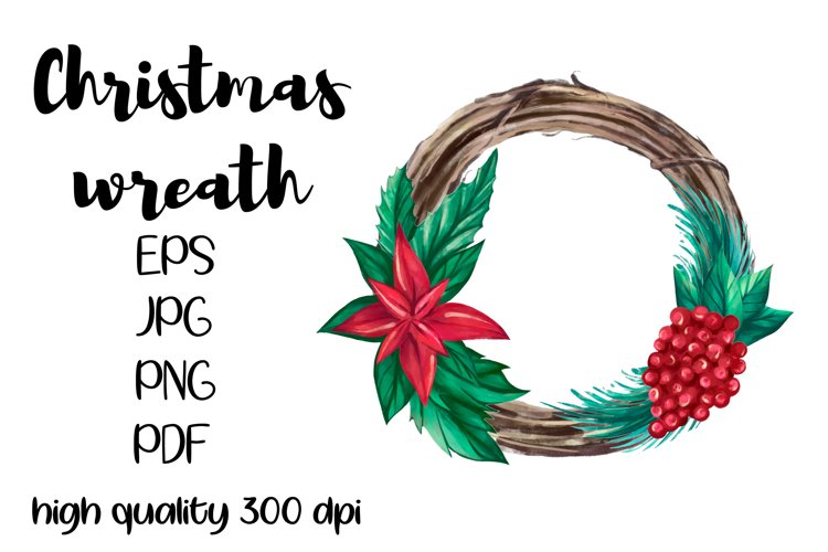 Watercolor Christmas wreath clipart, Christmas frame PNG