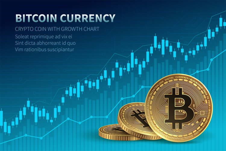 Bitcoin currency. Crypto coin with growth chart. Internation example image 1