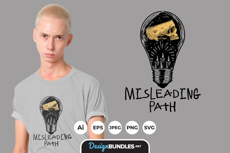 Skull and Candle in Bulb for T-Shirt Design example image 1