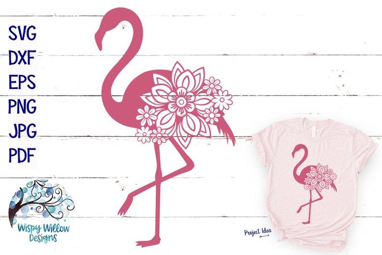Floral Flamingo SVG Cut File
