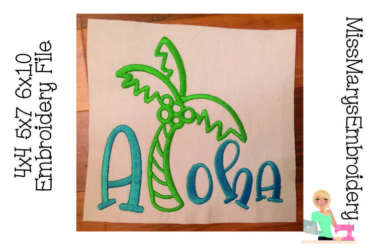 Aloha Embroidery | Summer Embroidery | Embroidery File example image 1