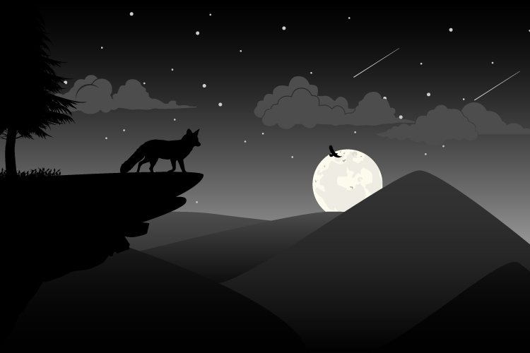 wolf silhouette, simple vector illustration example image 1