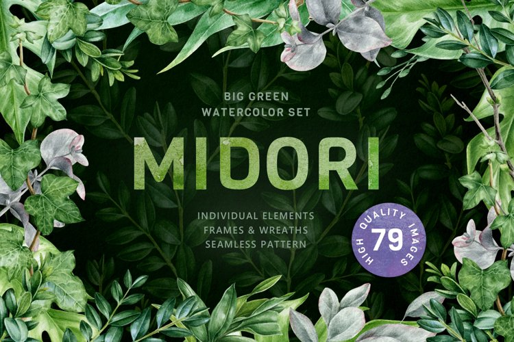 Midori Green Leaf Watercolor Set, Hand-Painted Collection example image 1
