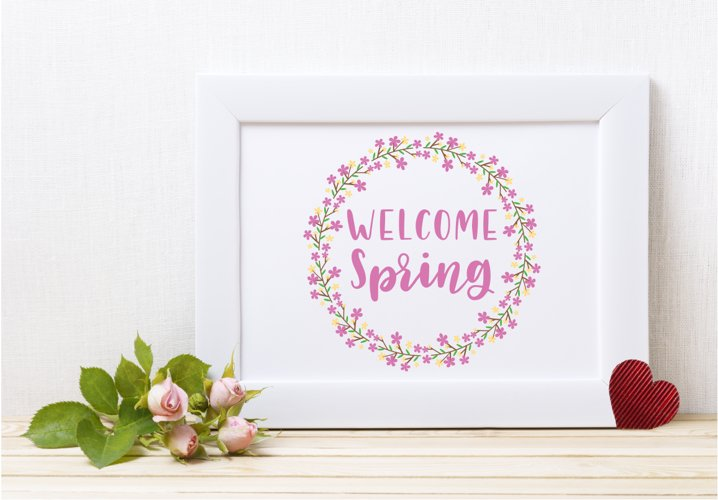 Welcome Spring Floral Wreath - A Spring SVG example 3