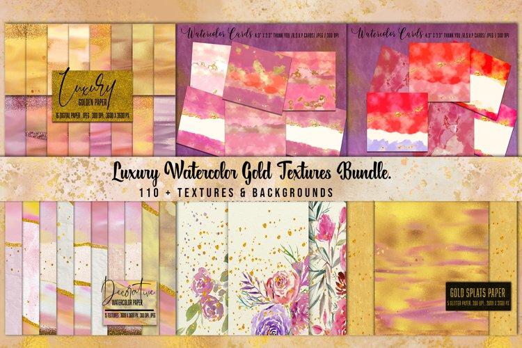 Luxury Gold Watercolor Bundle. Watercolor textures kit, example image 1