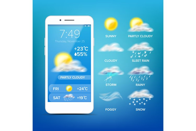 Weather Forecast App Vector. Realistic Smartphone Screen. example image 1