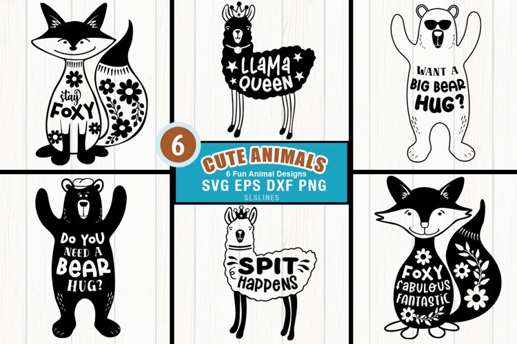 Cute Animal Shapes - Bear Fox Llama Cut Files