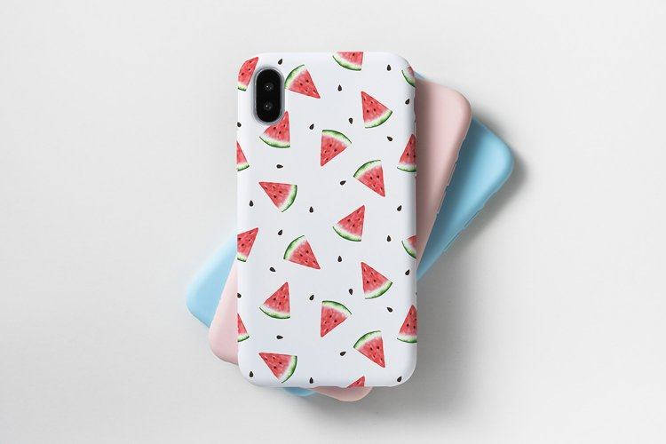 Watercolor seamless watermelons pattern. example image 1