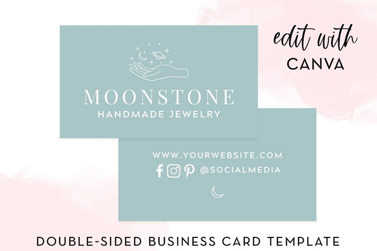 Modern Moon and Planet Business Card Canva Template