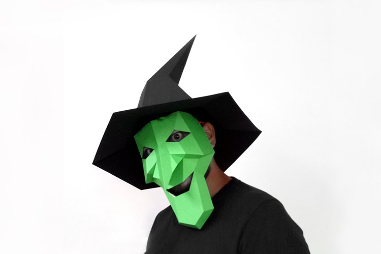DIY Halloween Witch Mask - 3d papercraft example image 1