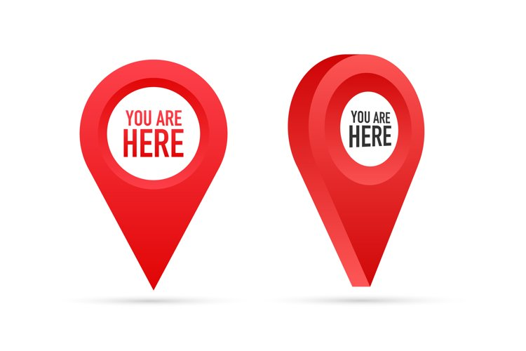 Red You Are Here Location Pointer Pin. example image 1