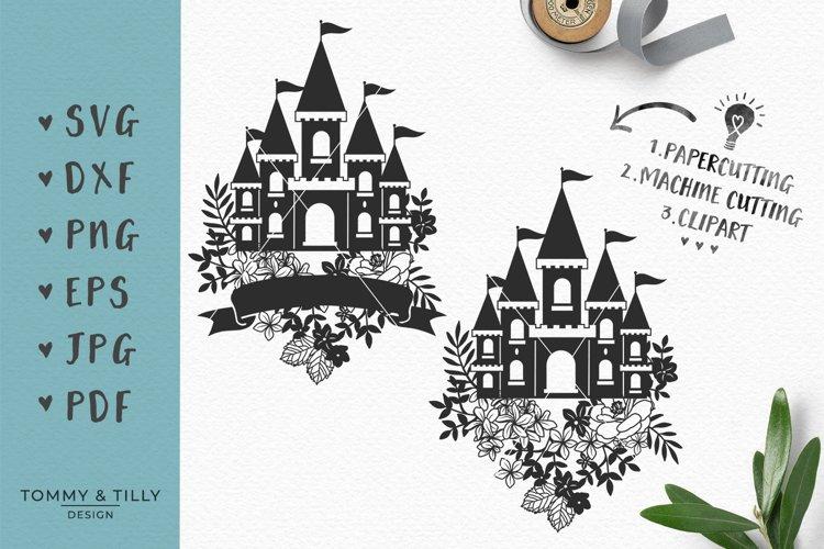 Floral Princess Castle - SVG DXF PNG EPS JPG PDF Cut File example image 1