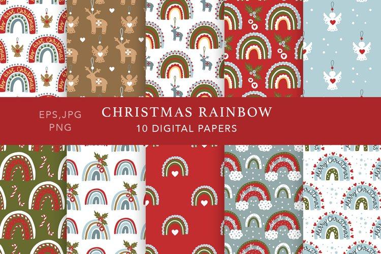 Christmas Rainbow Seamless Patterns example image 1