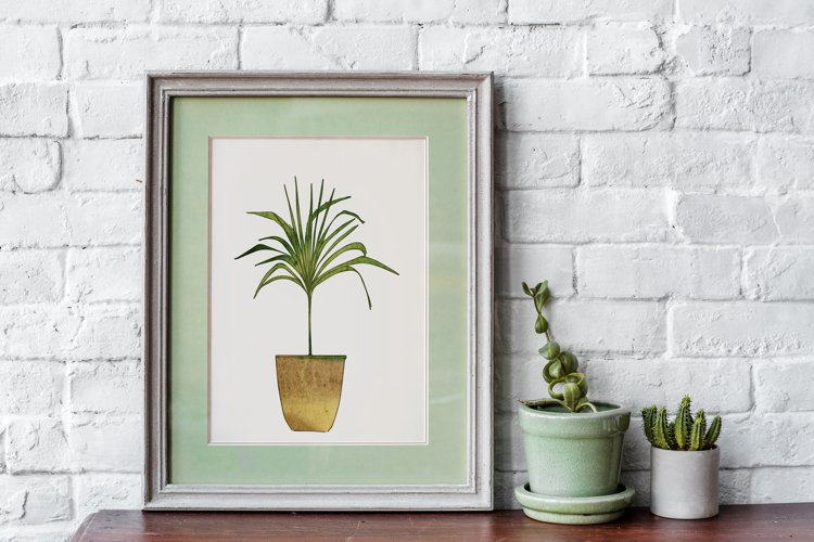 Watercolor Home Plant Clipart Set example 10