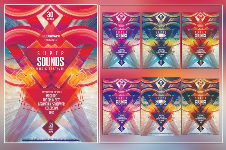 Super Sounds Photoshop Music Festival Flyer Template example image 1