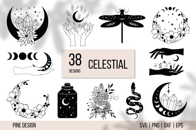 Celestial SVG, Magic SVG bundle, moon, crystal, cat, hands