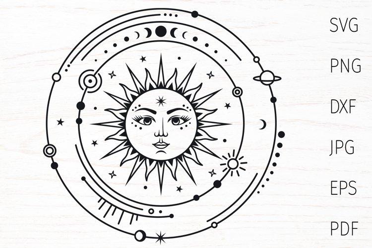 Celestial svg, boho sun svg silhouette, magic mystical svg