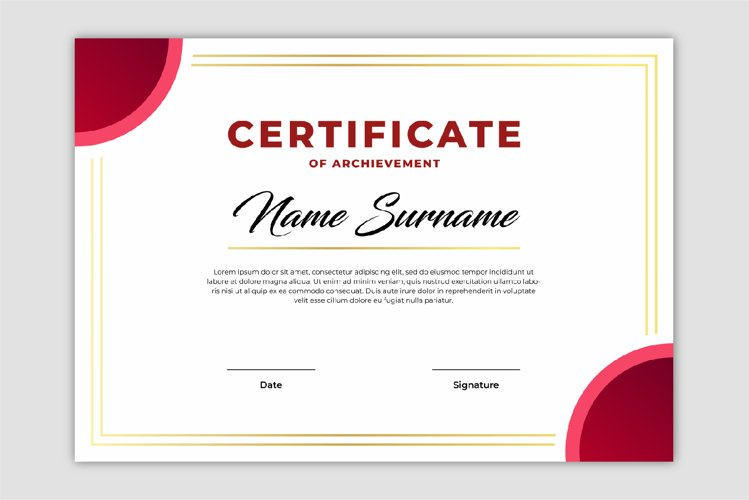 Elegant red and gold certificate template design