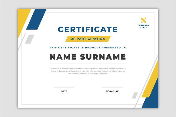 Abstract geometric certificate template flat design