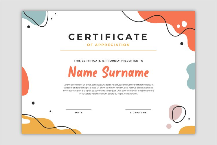 Modern certificate template with abstract shapes full color