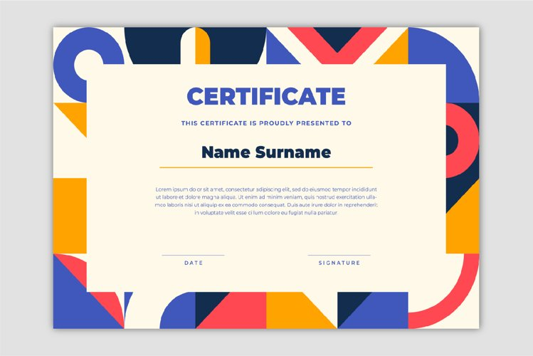 Certificate template with geometric design style.