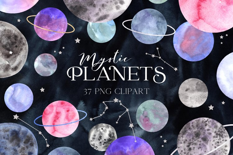 Space Planet Clipart. Watercolor planets and zodiac constell