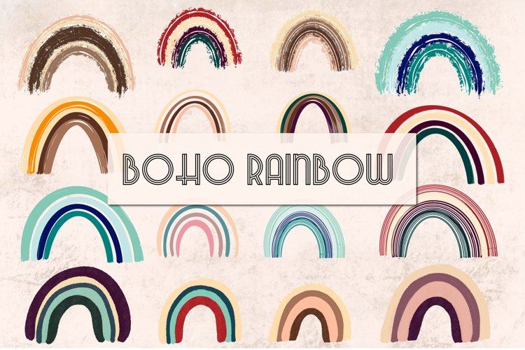 Boho Rainbow Clipart |rainbow PNG, SVG | Planner stickers example image 1