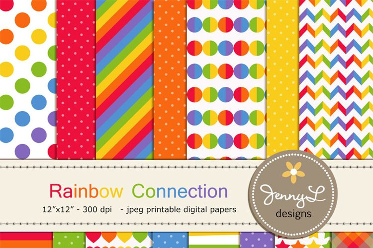 Rainbow Colors Digital Papers example image 1
