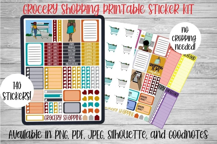 Grocery Shopping Printable Sticker Kit l Digital Planner example image 1