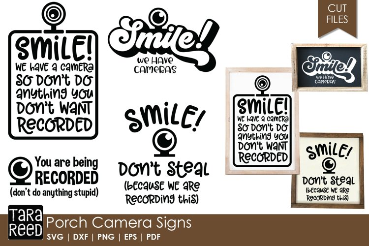 Porch Camera Signs - SVG and Cut Files for Crafters