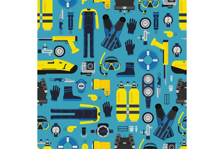 Vector underwater diving equipment pattern or background example image 1