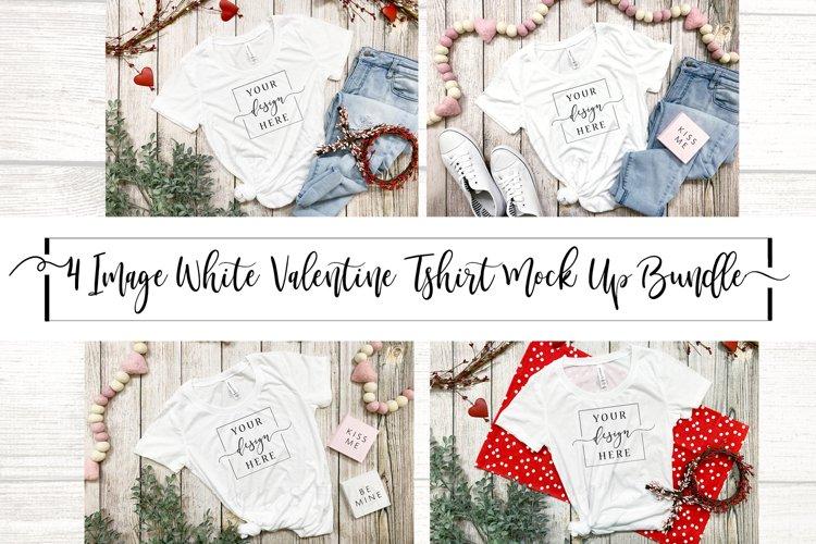 4 Image Valentines Day White T-Shirt Mockup Farmhouse Bundle example image 1