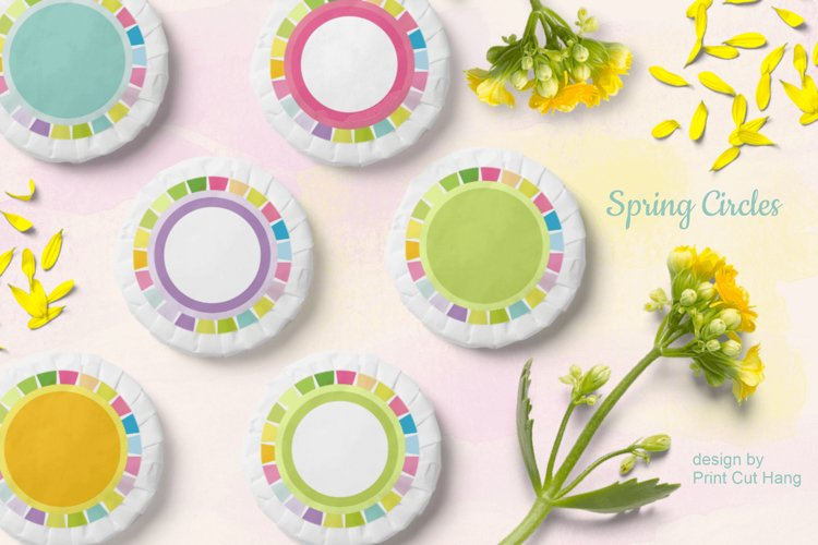 Spring Circle Frames Clipart Set of 24 PNG files example image 1