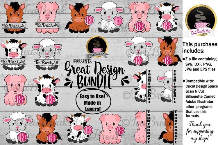 Cute Farm Animals Cutting Files 1201
