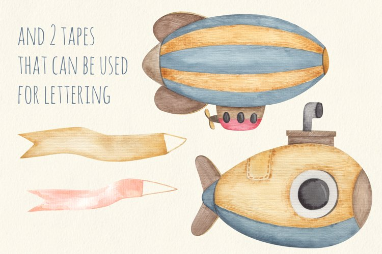 Baby transport watercolor set, airplane, submarine, train example 2