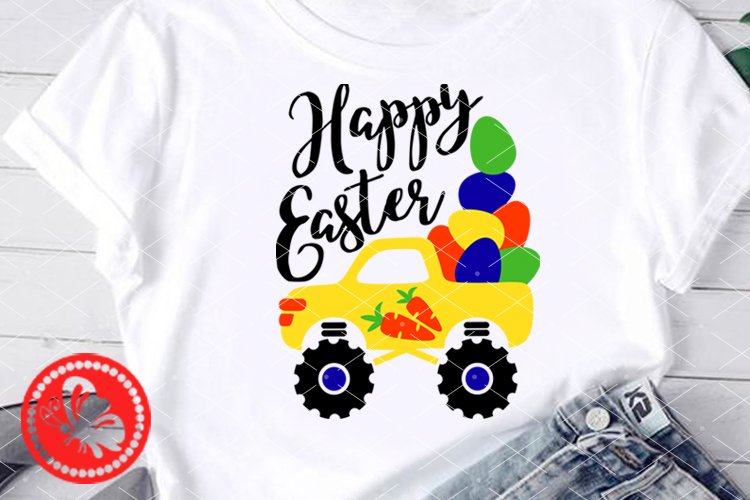 Happy Easter svg Cute truck Eggs Carrot Decorations Cricut example image 1