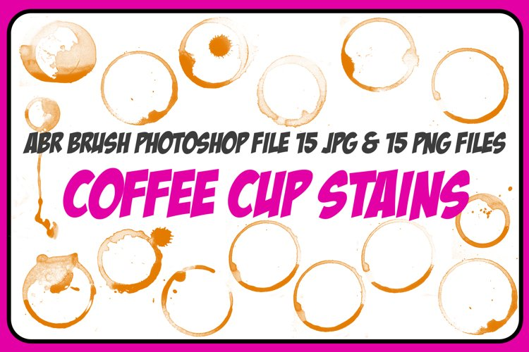 1 ABR, 15 JPG, 15 PNG Coffee Cup Stain and Spills! And Bonus example image 1