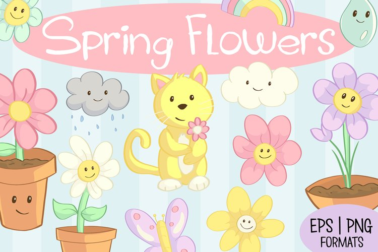 Spring Flower Clip Art Collection example image 1