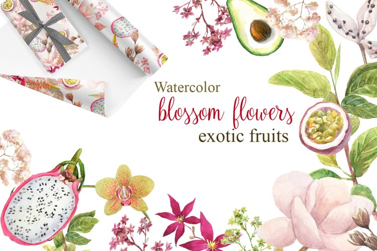 Watercolor flowers,exotic fruits.